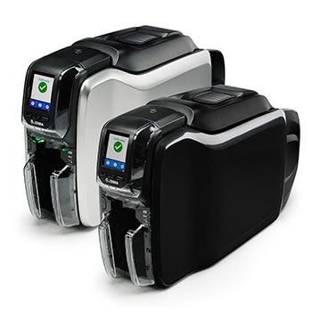 Front View of the Zebra ZC300 and ZC350 Card Printers