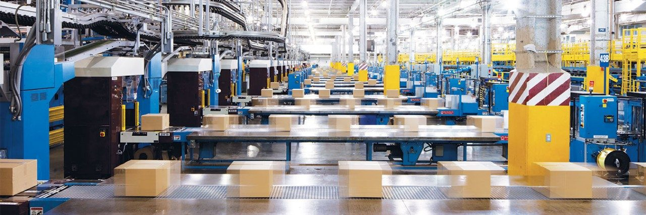 assembly plant with boxes on conveyer belts